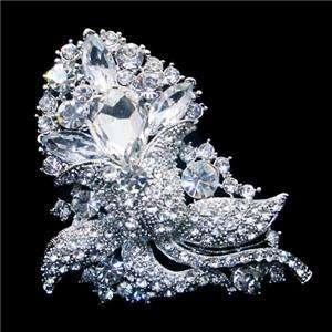 Bridal Flower Bud Brooch Pendant Pin Swarovski Crystal