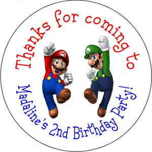 Super Mario luigi Personalized favor stickers personalized Birthday