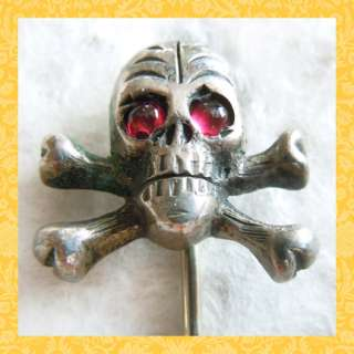 Early 1900s SKULL AND CROSS BONES w/ RED CABOCHON GEM EYES sterling