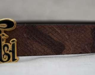 JUST CAVALLI   $230 brown SNAKE SKIN LEATHER BELT logo buckle, NEW, Sz