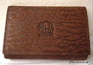 DARK BROWN ELEPHANT SKIN LEATHER CLUTCH WALLET+Gift bag