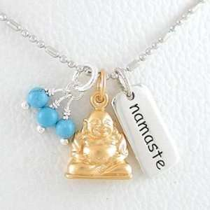 Small Sitting Laughing Buddha Pendant in Gold Vermeil and NAMASTE Tag