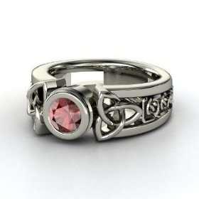 Celtic Sun Ring, Round Red Garnet Platinum Ring Jewelry