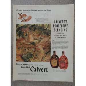 Calvert Whiskey,Vintage 40s full page print ad (2 deer