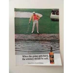 Calvert whiskey, 1971 print ad (golf/man.) Orinigal Magazine Print Art