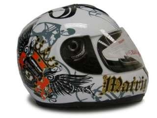 WHITE ROYAL FULL FACE MOTORCYCLE HELMET STREET BIKE ~M