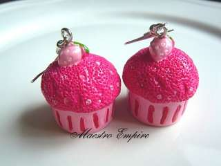 StrawBerry Shortcake Cupcakes Muffin Pastry Pink Earrings. These are