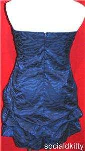 3X~sexy~NAVY BLUE~tiered~ZEBRA~prom~STRAPLESS~formal~PARTY~satin~DRESS