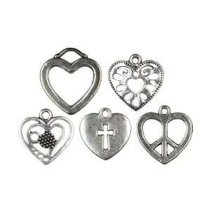 Cousin Jewelry Basics 5 Piece Metal Charm Hearts Arts