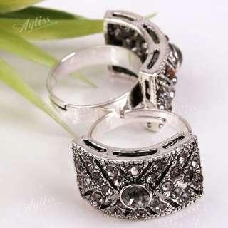 Grey Crystal Adjustable Cocktail* Fashion Ring 1P Gift