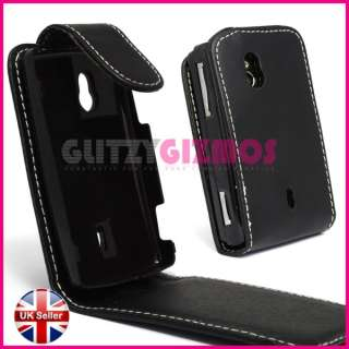 BLACK LEATHER FLIP POUCH COVER CASE FOR SONY ERICSSON XPERIA MINI PRO
