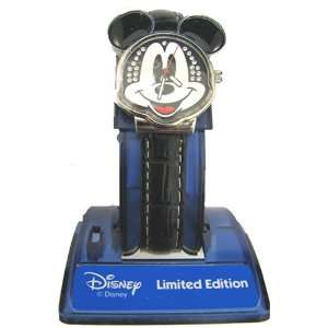 Mickey Mouse Watch Silver Face with Jewels & Black Band Toys & Games