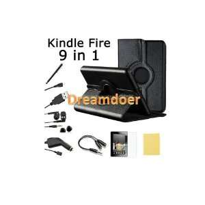 Kindle Fire Syn leather Case Cover/Car Charger/USB Cable