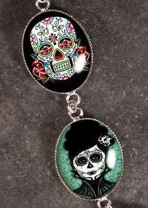 Dia De Los Muertos Sterling Silver Charm Bracelet BR 09