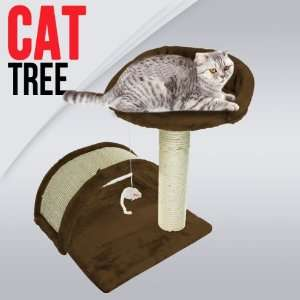 18 Cat Tree Condo Furniture Scratching Post w/ Toy, Brown