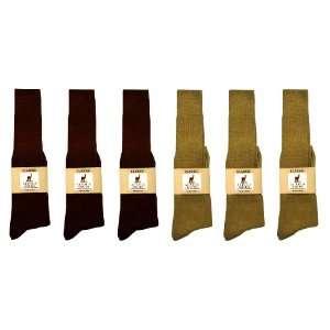 Alpaca Classic Socks   6 Pairs Large   Brown & Light camel
