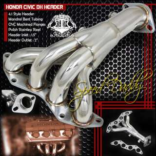 STAINLESS RACING MANIFOLD HEADER/EXHAUST 01 05 HONDA CIVIC DX/LX D17A1