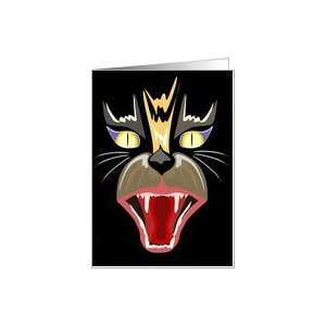 Face of Black Cat  Halloween  Trick or Treat Card Health