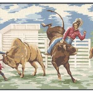 Wallpaper Border Western Cowboy Broncos Roping Kitchen
