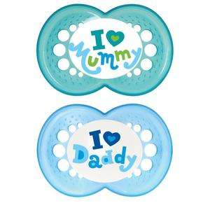 MAM DUMMIES / SOOTHERS / PACIFIERS I LOVE MUMMY / DADDY 6+ MONTHS