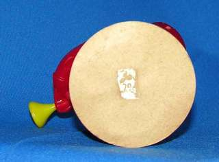 VTG E ROSEN HARD PLASTIC MUSIC SANTA WITH HORN CANDY CONTAINER ON ORIG