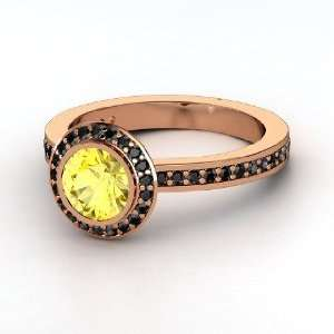 Roxanne Ring, Round Yellow Sapphire 18K Rose Gold Ring