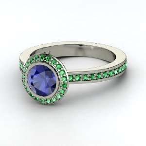 Roxanne Ring, Round Sapphire 14K White Gold Ring with