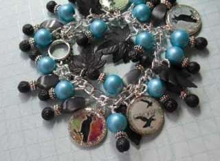 altered art,charm bracelet,kellyreins,black crow,dog,puppy,alice in