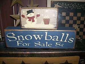 PRIMITIVE CHRISTMAS BLOCK SIGN~~SNOWBALLS~SALE~SNOWMAN~