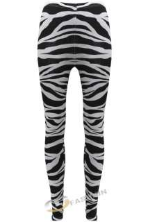 WOMENS LADIES ANIMAL ZEBRA PRINT LONG BLACK WHITE LEGGINGS TROUSERS