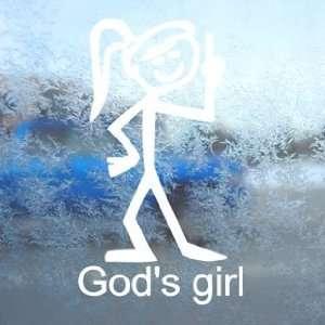 Christian Gods Girl White Decal Car Window Laptop White