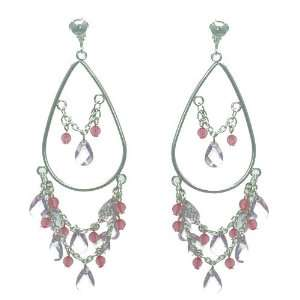 Quintesse Silver Pink Crystal Clip On Earrings Jewelry