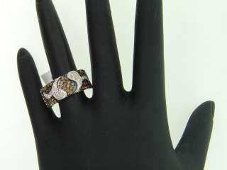 WOMENS WHITE GOLD CHOCOLATE BROWN DIAMOND ENGAGEMENT RING WEDDING BAND
