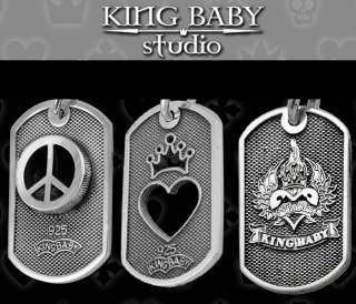 King Baby Small DOG TAG Heart Peace Chosen 925 necklace