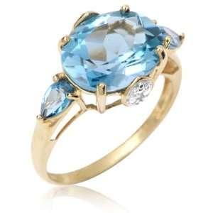 Gold Oval Cut Blue Cubic Zirconia and Diamond Accent Ring 6.0 Jewelry