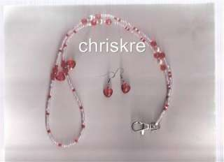 Pink Red Hearts Pearl Glass Bead Beaded ID Lanyard Cute USA Made