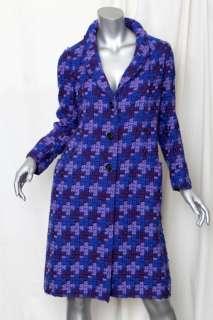MARC JACOBS Purple+Blue Beautiful Chunky Yarn Wool+SILK Check Coat