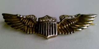 1950s Sterling Silver Pilots Wings Badge w/ Stones