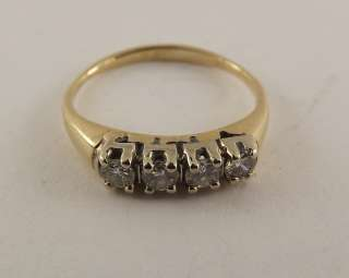 14Kt Solid Yellow Gold Diamond Anniversary Ring 14k