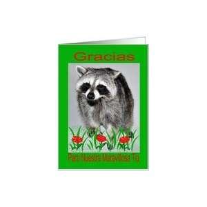 Simpatía Gracias Tía, mapache con flores Card: Health