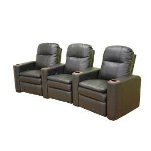 Set of 3 Home Theater Seats   Phoenix Black Leather