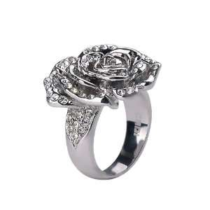 Silvertone Rose Flower Ring (8) Jewelry