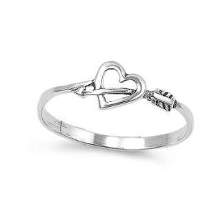 Sterling Silver Heart & Arrow Ring   Size 8 Jewelry