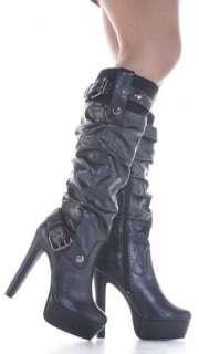 Ladies Stiletto Style Slim Heeled High Heel Platform Winter Zip Knee