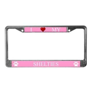 Pink I Love My Sheltie Metal License Plate Frame