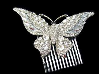 Bridal Butterfly Drop Wedding Hair Comb Tiara Clear Swarovski Crystal