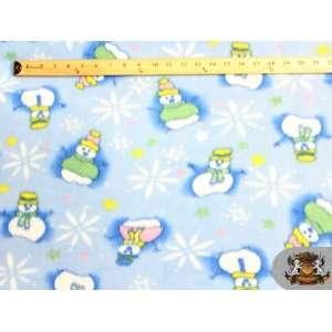 Fleece Fabric Printed Christmas *Light Blue Snow Man* Fabric By the