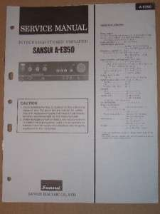 Sansui Service/Repair Manual~A E350 Amplifier Amp