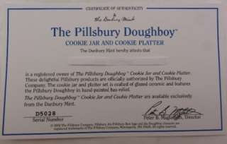 1988 Pillsbury Dough Boy Cookie Jar and Cookie Platter COA