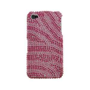 Diamond Protector Phone Cover Case Hot Pink and Pink Zebra